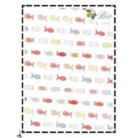 tissu poissons multicolores
